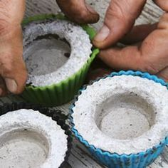 How to make concrete tealight holders for the patio. I would paint them bright colors! Good gift idea.