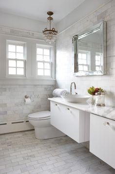Google Image Result for http://houseandhome.com/sites/houseandhome.com/files/imagecache/photo/1/ShotV_SUP_HH_FE09.bathroom.jpg Calcutta Gold Marble, Carrara Marble, Marble Top, White Marble Bathrooms, Marble Wall, Marble Subway Tiles, Marble Floor, Wall Tile, Tile Floor