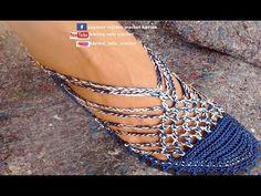 SANDALIA TEJIDA A CROCHET MODELO ESTRELLA - YouTube Crochet Sandals Free, Crochet Boots, Crochet Slippers, Knit Crochet, Crochet Shoes Pattern, Shoe Pattern, Crochet Patterns, Make Your Own Shoes, Crochet Winter