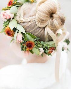 Fall seasonal flower crown for a flower girl by Plum Sage Flowers. Photo by Amy Caroline Photography Flower Girl Crown, Flower Girls, Mon Cheri Bridal, Seasonal Flowers, Spray Roses, Corsage, Her Hair, Plum, Wedding Flowers