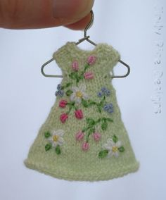 Flowery Mint, a tiny hand knit and embroidered  dress for Amelia Thimble & Izzy dolls, cindyricedesigns.com