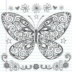 Vector Hand-Drawn Butterfly Sketchy Notebook Doodle Design Elements with Swirls and Flowers.Hand-Drawn Butterfly Sketchy Notebook Doodle Design Elements with Swirls and Flowers. Doodles Zentangles, Zentangle Drawings, Zentangle Patterns, Doodle Drawings, Doodle Art, Tangle Doodle, Tangle Art, Zen Doodle, Doodle Images