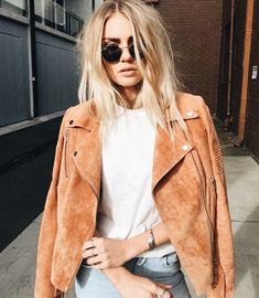 Find the best selection of ASOS Suede Biker Jacket. Shop today with free delivery and returns (Ts&Cs apply) with ASOS! Trendy Fashion, Boho Fashion, Autumn Fashion, Fashion Top, Paris Fashion, Street Fashion, Fashion Trends, Fall Outfits, Summer Outfits