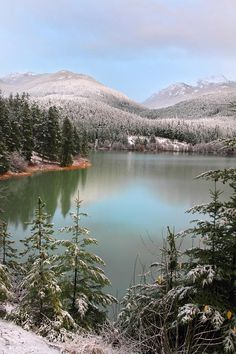 Snowy Green Lake Sunset - Whistler, B.C Canada