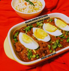 CURRY AND SPICE: RAJMA CURRY WITH EGGS IN A YOGURT BASED GRAVY
