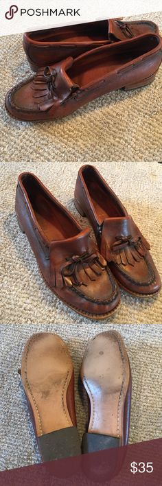 Vintage leather penny loafers Adorable well made leather loafers. Wooden heel, unable to read brand on inside but genuine leather. Not Anthro, listed for views. Anthropologie Shoes Flats & Loafers