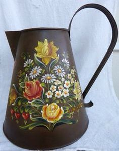 1195 best images about Bauernmalerei. One Stroke Painting, Tole Painting, Folk Art Flowers, Flower Art, Traditional Paintings, Traditional Art, Canal Boat Art, Norwegian Rosemaling, Pottery Painting Designs
