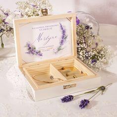 PREZENT dla Świadkowej w drewnianym pudełku bransoletka + czekoladki Kolekcja Lawenda Decorative Boxes, Frame, Picture Frame, Frames, Decorative Storage Boxes