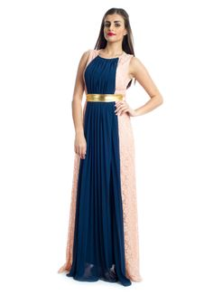 Get that charming look at the next evening party with this lovely sleeveless maxi dress from Xela! It features petrol & pink fabrics with lace and a golden waist belt to fit and add tons of feminine appeal to your attire. Make a perfect choice for that elegant look.