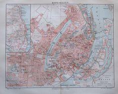 1897 Kopenhagen Dänemark - alte Stadtplan Karte Lithografie old city map