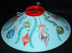 VINTAGE 1950'S BLUE COLORAMIC ORNAMENTS METAL RETRO CHRISTMAS TREE STAND HOLDER