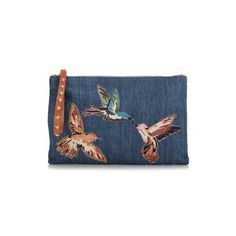 RED VALENTINO Embroidered 'Colibrì' Denim Clutch (€275) ❤ liked on Polyvore featuring bags, handbags, clutches, blue, denim purse, red valentino, blue handbags, embroidery handbags and red valentino handbags