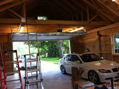 "My 24 x 32 2 car ""garage"" build - The Garage Journal Board - loft over garage doors and lift in the high bay"