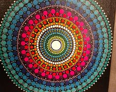 Check out our dot mandala selection for the very best in unique or custom, handmade pieces from our acrylic shops. Mandala Canvas, Mandala Painting, Dot Painting, Mandala Art, Stone Painting, Zentangles, Handmade Crafts, Exhibit, Painted Rocks