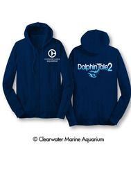 Features: Navy, Dolphin Tale 2 Logo, Clearwater Marine Aquarium Logo, 50% Cotton, 50% Polyester