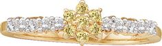 10kt Yellow Gold Womens Round Yellow Colored Diamond Flower Cluster Ring 1/3 Cttw 22139