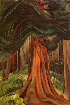 "The Red Cedar - Emily Carr ~ The artist himself may not think he is religious, but if he is sincere his sincerity in itself is religion."" Emily Carr ~ Via Canadian Painters, Canadian Artists, Native Canadian, Canada Landscape, Forest Landscape, Landscape Design, Vancouver Art Gallery, Tom Thomson, Cedar Trees"