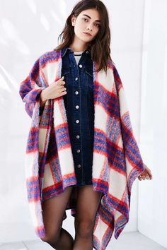 Brushed Plaid Open Poncho - Urban Outfitters