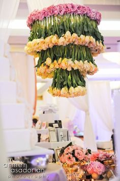 hanging centerpieces, yellow tulips, Tic Tock Couture Florals - If These Petals Could Talk - The 2012 Premier Bridal Event Wedding Aisles, Wedding Events, Wedding Reception, Weddings, Party Wedding, Reception Decorations, Event Decor, Flower Decorations, Wedding Centerpieces