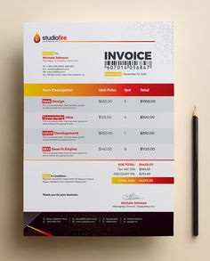Flexible and professional invoice design template is made in multiple software format so its easy to edit and use as your skill. This invoice template is Invoice Sample, Invoice Format, Invoice Design Template, Flyer Template, Company Brochure, Brochure Design, Questionnaire Template, Estimate Template