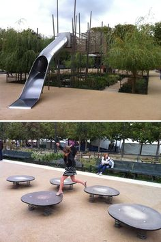 All I know is that it's in Paris, France. I love those spring-mounted balance boards, and the way they've nestled the big fort/slide into the greenery. Pinned by Alec of http://childsplaymusic.com.au/