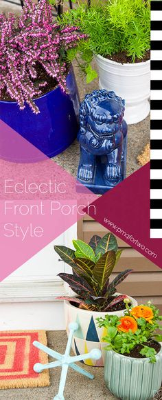 Creating an eclectic front porch is easy when you have HomeSense! I've created a list with tips for styling the space and what kind of flowers and plants do best on a shaded front step.  via @https://www.pinterest.com/pmqfortwo/