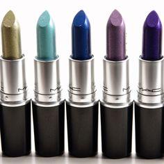 MAC Lipsticks: No Interruptions, Soft Hint, Designer Blue, Pick Me Pick Me, Model Behavior