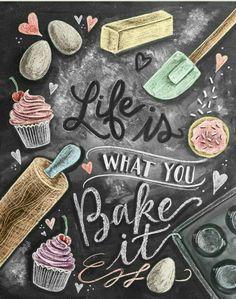 Kitchen Decor - Kitchen Chalkboard Art - Gift for the Baker - Baking Art - Kitchen Art - Illustration Print - For the Bakery - Bakery Art - Cute chalkboard art print for a Shabby Chic kitchen! Kitchen Prints, Kitchen Art, Kitchen Quotes, Kitchen Ideas, Kitchen Tools, Kitchen Mosaic, Bakery Kitchen, Kitchen Shop, Kitchen Dining