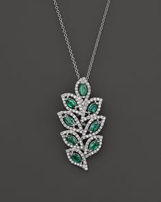 """Emerald and Diamond Leaf Pendant Necklace in 14K White Gold, 18"""""""