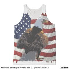 American Bald Eagle Portrait and US Flag All Over Print Tank Top