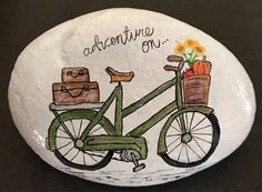 Precious olive green bicycle on an adventure with suitcases, a basket filled wit… - DIY Selber Machen Autumn Painting, Pebble Painting, Pebble Art, Stone Painting, Rock Crafts, Diy Arts And Crafts, Bicycle Painting, Painted Rocks Kids, Rock Painting Designs