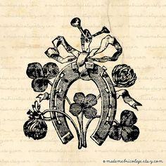 Lucky Horshoe FourLeaf Clover Talisman Charm by MadameBricolage, $2.00