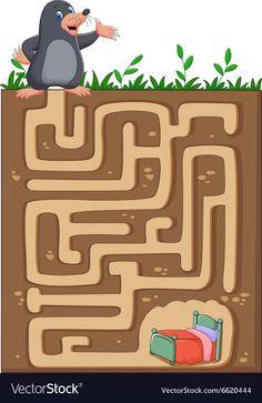 Help mole to find way home in an underground maze vector image on VectorStock Kids Learning Apps, Creative Activities For Kids, Preschool Learning Activities, Preschool Worksheets, Mazes For Kids Printable, Puzzles For Kids, Body Preschool, Alphabet For Kids, Happy Kids