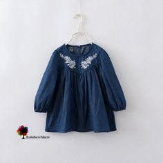 2015 New Children Clothing Spring Autumn Girls Lovely Embroidery Floral O neck Long sleeved Cotton Denim Blouses-in Blouses & Shirts from Mother & Kids on Aliexpress.com | Alibaba Group