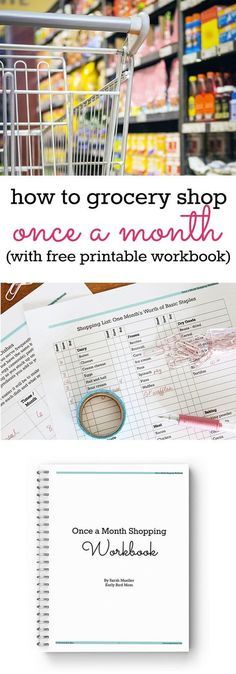 Save plenty of time and money when you grocery shop once a month. Free printable workbook gives you tips and advice on this easy way of grocery shopping. Great time-saving tip for large families and working moms!