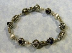 Bali Style Silver Bead and Cabochon Gemstone Stretch Bracelet
