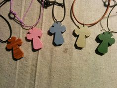 Necklace Crosses pained or stained