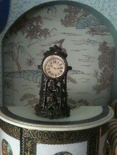 1900 Antique Miniature Clock  Pendulum Dollhouse Ancient
