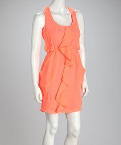 Neon Orange Ruffle Sleeveless Dress