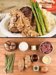 Salisbury Steak with whipped potatoes, asparagus, and sherry-mushroom gravy