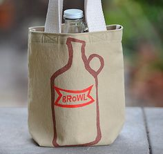 Growler Bag Screen Printed Canvas Khaki Tote Growl by stripeycity