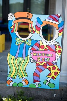 Carnival birthday party photo cut out fun for toddlers, clown photo cutout