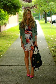 floral print dress, jacket, pink heels c/o a fashion love affair