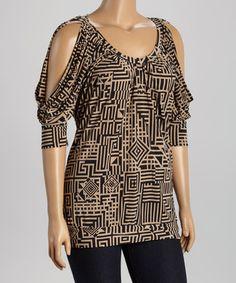 This Tan & Black Geometric Shoulder-Cutout Dolman Top - Plus is perfect! #zulilyfinds