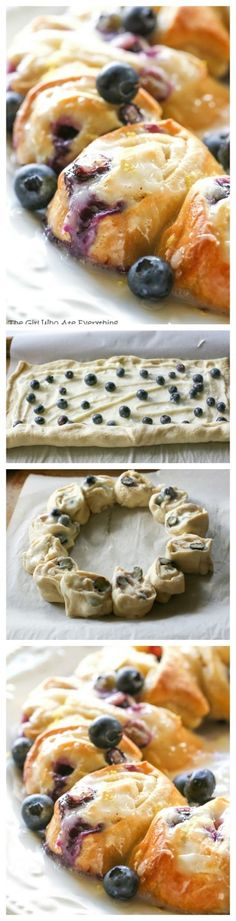 This Blueberry Lemon Crescent Ring is perfect for breakfast or brunch. This is an easy and tasty treat for any time of day. the-girl-who-ate-everything.com