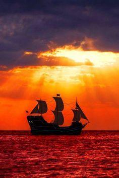 "tulipnight: "" Pirates In A Sea Of Blood Author: Bob "" The Wheelhouse, Tall Ships, Sailing Ships, Amazing Art, Adventure Travel, Sunrise, Explore, Pe Mare, Nature"