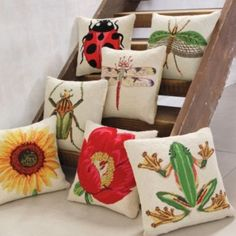 Insect Throw Pillows - just the ladybug one I like all but the frog! I could totally paint these