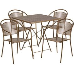 Flash Furniture 28 inch Square Indoor-Outdoor Steel Folding Patio Table Set with 4 Round Back Chairs, Multiple Colors, Gold Patio Bar Set, Patio Table, Patio Chairs, Patio Dining, Dining Chairs, Dining Table, Outdoor Dining Set, Outdoor Furniture Sets, Indoor Outdoor