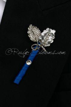 Silver Royal Blue Crystal Leaves Groom Best Man Boutonniere #groomsmen #gifts #groomsmengifts #groom #groomsmen #boutonniere #lapel #pin #pins #lapelpins #buttonhole #buttonholepins #groomspin #groomslapelpins #manaccessory #fatherofthebride #fatherofthegroom #weddingaccessory #boutonniere #brooch #broach #prom #ringbearer #crystal #royalblue #cobalt #sapphire #silverleaves #wedding #set #weddingpackage #weddingcollection