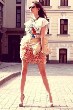 Shop this look on Kaleidoscope (top, skirt, necklace, pumps, clutch)  http://kalei.do/W43RDu19NYyLamSP